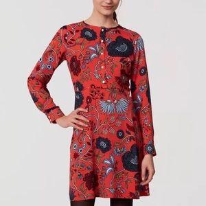 LOFT floral printed long sleeve fit flare dress
